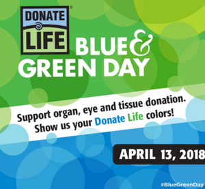 (English) Celebrate with Us On National Donate Life Blue & Green Day!